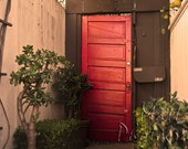 California Photography - Red Door - Vintage, Venice Beach, California, Fine Art Photography, Beach Photography, Plants