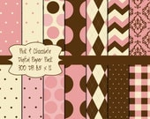 14 Pink and Chocolate Brown Digital Collage Sheets 8.5 x 11 Printable Digital Papers