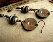 sidero no.2 - rustic salvaged metal, african yoruba brass, stoneware and kuchi charm earrings