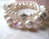 pearl bracelets set of three bridal white vintage crystals swarovski glass rhinestone