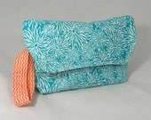 Diaper Clutch . Changing Pad . Diaper and  Wipes Holder . Teal Orange Yellow