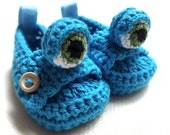 Blue Monster Baby Moccasins - beliz82