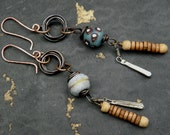 tribal gypsy earrings - wire wrapped trade bead and dangles