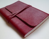 Leather Bound Notebook Beautiful Dark Red Handmade
