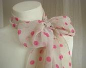 Pink / Ivory Polka Dot Chiffon SCARF
