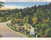 Vintage New Hampshire Postcard - State Highway Route NO. 10 at Beaver Brook Falls, Keene, NH