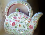 Mosaic Tea Pot, Cottage Chic, Shabby Chic, Wall Decor, Pique Assiette, Pink, Yellow, Green, Magenta, Flowers, Spring, Mother's Day