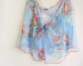 Silk chiffon scarf Hand painted Red roses Blue floral spring accessory - made TO ORDER