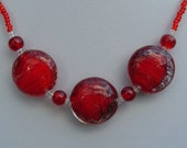 Red necklace, vibrant red round glass beaded necklace, beaded jewellery