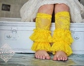 Girls Lace Ruffle Leg Warmers in Lemon Yellow - ISADORAKIDS