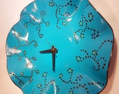 Teal  Wall Clock,  Painted Record Clock