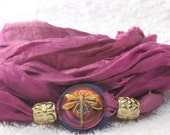 Sari Silk Whirly Wrap Bracelet in rose with handpainted Czech glass dragonfly button Spring Mothers Day - MaryMercedes