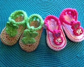 Crochet Baby Sandal, Summer Sandal, Jeweled sandal, Infant sandals, summer shoes,  pink, green, 0-3 mos, 3-6 mos, 6-9 mos, 9-12 mos - Crochet4Babies