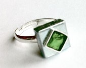 Green Ring, Silver Square Ring, womens ring, mens ring, industrial ring, Art Deco Ring, silver ring, Adjustable Ring,