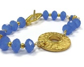 Blue Bracelet Blue Jewelry Yellow Gold Jewelry Rhodium Plated Beaded Crystal Jewellery B-217 - jewelrybycarmal
