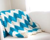 Chevron Stripe Zigzag Blanket Turquoise Ivory Medium - CThandmade