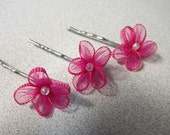 Pink Flower Bobby Pins