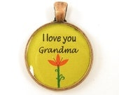 Grandma Pendant - Lime Green Orange Flower Copper Circle Resin Pendant