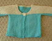 Baby's Jacket Hand Knitted Cream and Turquoise Blue 3 Months Boy