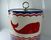 Red, White and Blue Cera Whale Ice Bucket / Storage Container - reAwesome