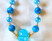Blue Glass and Pearl Necklace with Gold Metal Beads and Large Blue Pendant
