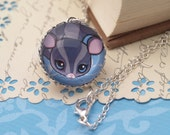Kawaii Sugar Glider Bubble Double-Sided Glass Pendant - Blue Marble Pendant - Silver Tone Chain