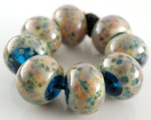 Beach Party - Handmade Lampwork Beads Glass Rounds - Blues, Greens, Peach, Tropical - SRA (Set of 8 Beads) - ahouston