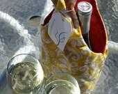 Yellow paisley wine bottle carrier - brassbirddesigns