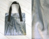 Brown grey tote bag made from shop poster - marketbag - upcycled materials