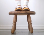 Rustic Wood Stool - Petite, Weathered, and Worn - smilemercantile