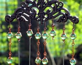 Windchime / Wind Chime with Recycled Aluminum and Copper Wrapped Iridescent Spring Green Glass Marble Prisms - tapestryarabianfarm