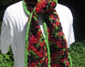 Granny Square Crochet Scarf in Green Rust Red and Brown