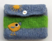Felted bag wool pouch purse needle felted yellow bird birdie and sun