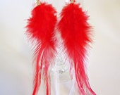 Feather Earrings - Red and White - LittleChickiesCrafts