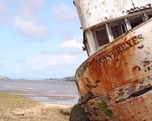 Old Wood Fishing Boat, Photograph, Fathers Day, Rust, Blue Skies, Pt. Reyes, Spring Day,  8x10, Fine Art - MiriamHamsa