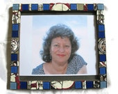 Blue Mosaic Picture Frame- For Artists Exposed - Broken china - Margalita
