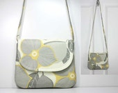 Small Shoulder Purse Sling Bag Hobo Bag Cross Body Bag - Yellow and Gray Optic Blossom on Cream - Amy Butler Fabric - Ready to Ship - OceanPearlBags