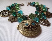 Bronze Owl Locket Charm Bracelet