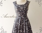 NEW--Amor Vintage Inspired- Darling Dress-Adorable Black Floral in Wonderland Cotton Dress for Any Occasion-Fit S-M-