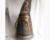 Repousse copper coal scuttle hammered hod fireplace bucket French Belgian family scene umbrella stand - AntiqueAddictions