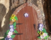 Fairy door faux wood and pansies and violets with green leaves made with polymer clay - smalloldthings