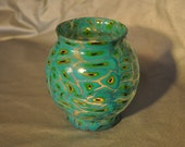 Beautiful Translucent Aqua, Green & Gold Covered Glass Candle Holder