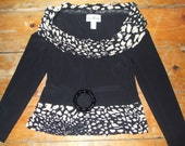 Joseph Ribkoff black camel sequin neck top US 6 , UK 8 , Italy 40