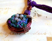 Bird Nest Pendant Necklace, Wire Wrapped Fiber Nest, Purple and Rose Hand Dyed Silk Ribbon - acottagehearth