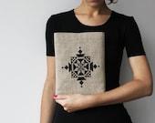 Embroidered iPad sleeve. iPad case. iPad bag. Tribal ethnic black ornament. Organic. Unisex. - GalaBorn