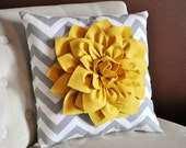 Mellow Yellow Dahlia on Gray and White Zigzag Pillow -Chevron Pillow- - bedbuggs