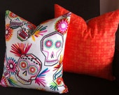 Sugar Skull Collection: Modern Skull/Orange Geo 16x16 decorative pillow with down insert