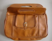 Vintage Faux Honey Brown Handbag  with Brass Hardware and Front Pocket - SalvagedStrawberry