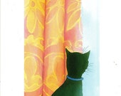 Peeping Tom greeting card for cat lovers - Fyersart