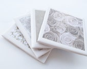 Set of 4 Neutral Colored Coasters -- Ready to Ship - BlueBedroomBoredom